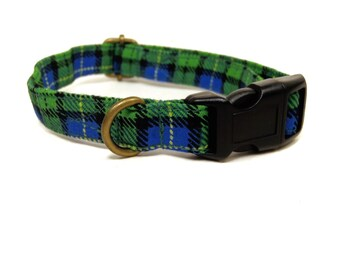 Patterson - Green Yellow Blue Preppy Plaid Organic Cotton CAT Collar Breakaway Safety - All Antique Metal Hardware
