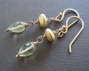 Lemon Topaz Vermeil Dangle Drop Earrings Birthstone