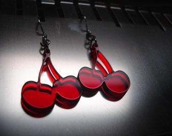 Red Cherries Acrylic Earrings