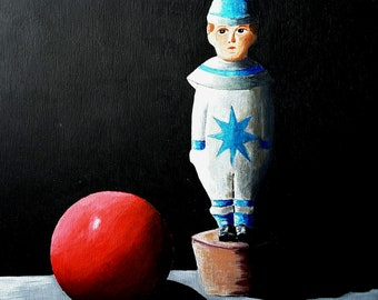 Original Acrylic Painting, Skittles Anyone,  Still life, wooden toy, clown, red ball