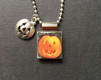 Jack-o-Lantern Pendant, Halloween Pumpkin Necklace, handmade scrabble tile jewelry, Halloween Jewelry, Halloween Gift, Pumpkin charm