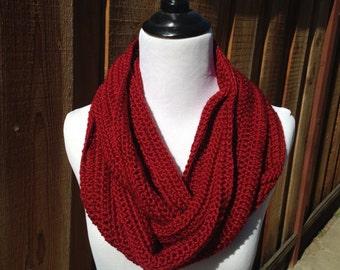 Crimson Infinity Scarf; Crimson Crochet Scarf; Dark Red Crochet Scarf; Crochet Scarf; Womens Scarf;