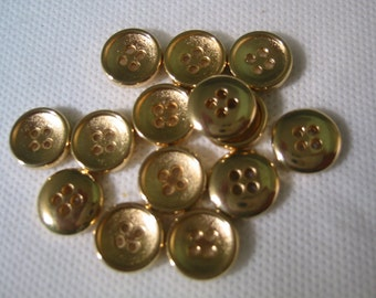 """Gold button  4 hole 1/2"""" Lot of 6"""