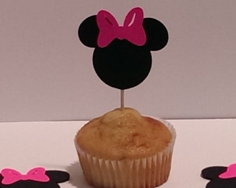 12 Minnie Mouse Party Picks - Cupcake Topper - Toothpicks - Food Picks Die Cut Punch Cardstock