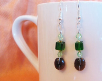 Green Cubed...Authentic Fair Trade Coffee Bean Earrings .. FREE U.S. SHIPPING