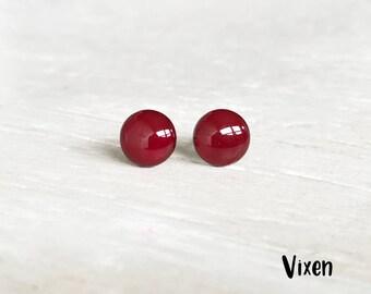 Vixen red stud earrings, Dark red earrings, Deep red post earrings, Hypoallergenic earrings, Small studs Ear Sugar earrings Round Studs