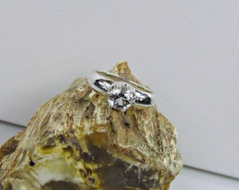 Sterling Silver Ring - Natural White Topaz Ring - Friendship Ring - Promise Ring - Statement Ring with a 6mm Natural White Topaz Gemstone