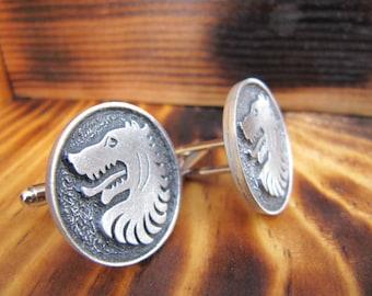 Steampunk, Men's Gifts, Steampunk Cufflinks, Jewelry, Groomsmen Gift, Man, Midieval Wolf, Cufflinks, Gothic, Father's Day Gifts