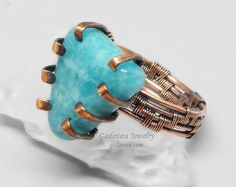 Blue Stone and Copper Wire Wrapped Ring - CLEARANCE