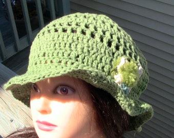 Gift For Her, Summer Beanie, Cotton Sun Hat, Sun Hat, Beach Hat, Green Cotton Beanie, Green Cotton Hat, Green Beach Hat