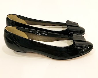 Vintage 70s Black Patent Leather Baby Doll Flats Shoes | Brand New | Never Worn | California Magdesians| Size 8