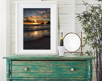 Golden Oregon Sunset at Heceta Head - Oregon coast photography - archival wall prints for home, office, or dorm.