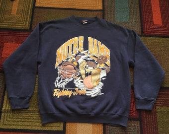Vintage 90s 1993 Notre Dame Crewneck Sweatshirt Basketball Blue XL Irish Taz Devil Looney Tunes