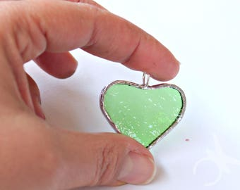 Green heart glass pendant for green lovers St Patrick's day in stained glass and sterling silver transparent green glass handmade in Italy