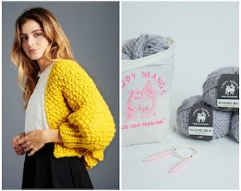 Loopy Mango DIY Kit - Super Cropped Cardigan - Chunky Merino Wool