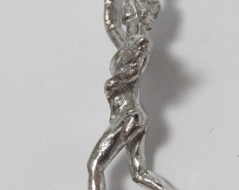 Runner Carrying Torch and Bouquet Sterling Silver Charm for Bracelet or Pendant