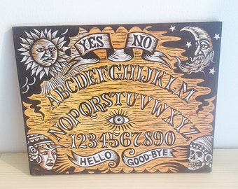 Ouija Board Woodcut Wall Art by Horse and Hare - Hand Printed Woodcut Print on Wood -  Ready to Hang Art - Dark Art- Goth Art - Occult Art