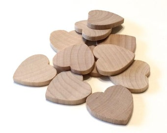 100 Little Wooden Hearts - 1 Inch