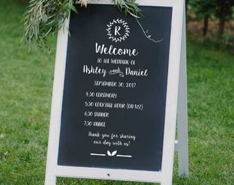 Wedding Schedule Sign Decal - DIY Wedding Sign Decals - Wedding Program Sign - Welcome to our Wedding Sign Decal- Personalized Wedding Decal
