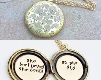 She Believed She Could So She Did, Graduation Gift, Locket Necklace,  Message Locket, Personalized Locket, Hand Stamped Message Locket