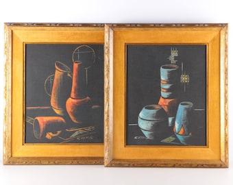 Mid Century Paintings, Cay-Skot Danish Art, Still Life Oil Paintings, Scandinavian Modernist Painting, Cay-S Paintings, Vintage Danish Art