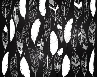 Chalkboard Feather Clipart Clip Art, Chalk Tribal Feather Clipart Clip Art Vectors- Commercial and Personal Use