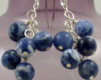 Deep Blue Sodalite Cluster Earrings