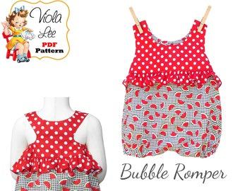 Infant Romper Pattern, Infant Bubble Romper pdf Sewing Pattern, Baby Sewing Pattern, Sunsuit Sewing Pattern, Infant Sewing Patterns Paisley