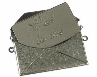 1 Set Large Antique Silver Textured C'est La Vie Letter Envelope Finding 745C