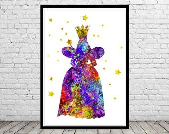Glinda the good Witch inspired, Glinda, The Wizard Of Oz, Watercolor print,  Kids Room Decor (403b)
