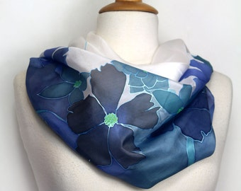 Silk scarf. Hand painted silk scarf. Blue floral silk scarf. Wearable art. Special womans gift. Hand painted to order in France. Silk art.