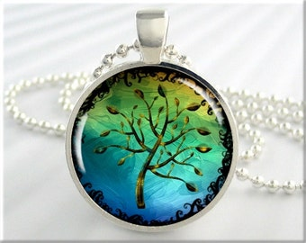 Tree Of Life Pendant, Resin Pendant, Blue Green Tree Of Life Necklace, Gift Under 20, Tree Art Pendant, Round Silver Picture Pendant 482RS