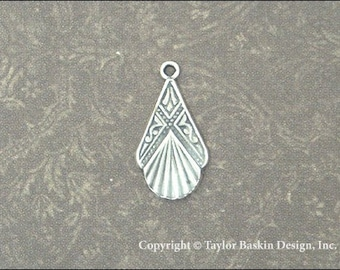 Antiqued Sterling Silver Plated Art Deco Earring or Pendant Drop (item 1111 AS) - 6 Pieces
