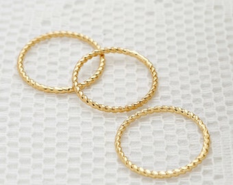 Gold twisted ring, Stacking rings, thin gold filled ring, dainty set of rings, everyday jewelry.