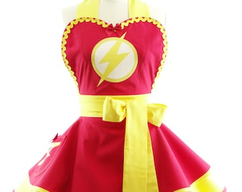 Superhero Costume Apron - Retro Apron - Red Speedster Womans Aprons - Vintage Apron Style - Pin up Rockabilly Cosplay Costume