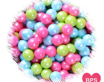 Spring Sugar Pearls in Pink, Lime Green & Blue, Large 7mm Sugar Pearls, Candy Beads, Cupcake Toppers, Easter Sprinkles, Candy Pearls