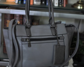 Large Genuine Leather Cross Body Tote- Gunmetal Gray