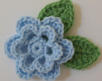 Crocheted Flower with Leaves - Light Blue and Sage Green - Acrylic
