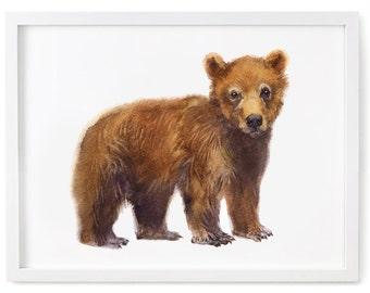 Bear Art, Bear Painting, Bear Print, Bear Watercolor Painting Animal Watercolor Print Bear Nursery Art Bear Watercolor Art Baby Bear Cub Art