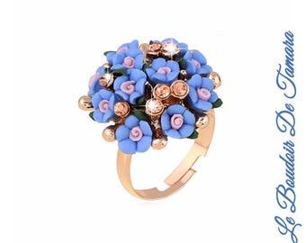 Myosotis flowers ring, blue flowers ring, porcelain ring, ceremony ring, fancy ring, white flower ring, pink flowers ring, gold