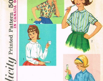 1960s Vintage Simplicity Sewing Pattern 5122 Cute Little Girls Blouse Size 10