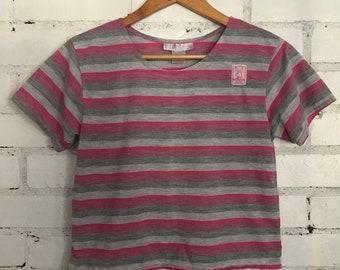 Vintage 80s Playboy Playmate pink grey Stripe crop top size med