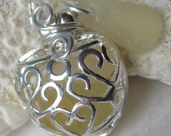 Sea Glass Necklace-Yellow Mermaids Tears Heart Locket-