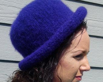 Bowler -- Dark Purple Rolled Brim Felted Hat
