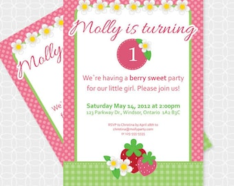 Strawberry Party Invitation, Printable file, Personalized