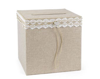 Rustic Wedding Card Box, Burlap wedding card box holder, Lace and jute twine, Silver tone heart adds romantic charm, Country wedding