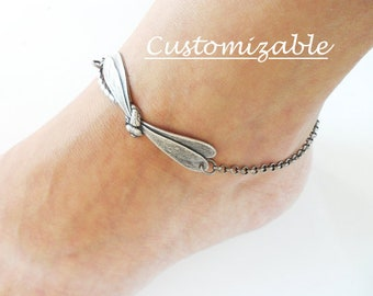 Steampunk Dragonfly Anklet Sterling Silver Ox or Antiqued Brass Ox Finish Personalized Jewelry