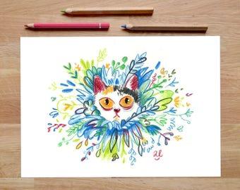 Cat Art Print, cat artwork, foliage prints, cat decor, cat gifts, cat lover gift, Leaf print, jungle print, tropical print, cat illustration
