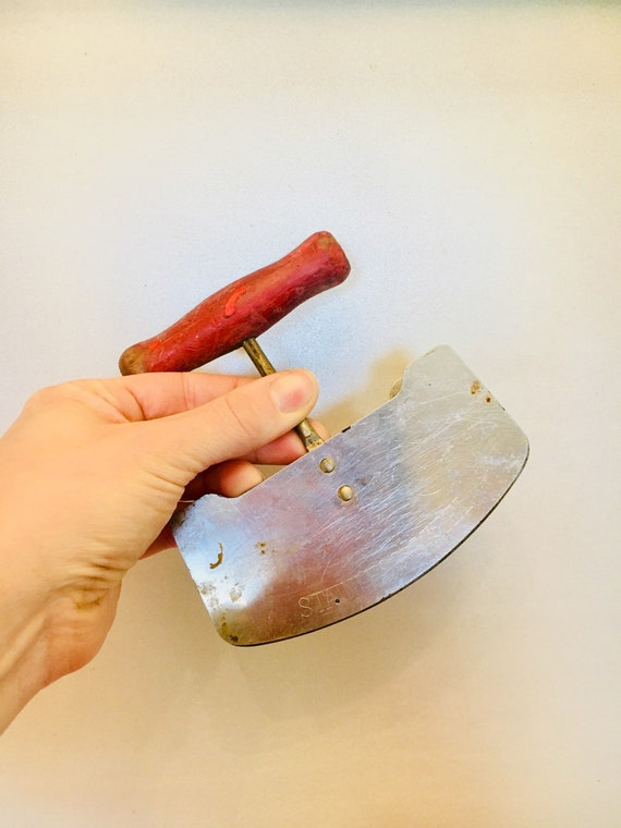 Vintage Double Edged 1940s Vegetable Chopper - Vintage Stainless Steel Double Edged Knife with Red Wooden Handle