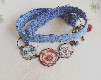 "Tin and Denim Wrap Bracelet ""Bohemian Trio"" Tin for the Ten Year Tenth Wedding Anniversary"